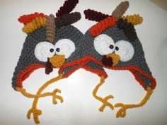 turkey gobble hat THANKSGIVING with earflaps by AFieldOfSunflowers