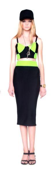 Neon Color block Pencil Skirt
