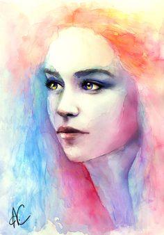 Khaleesi of The Dothraki in watercolours. #GameOfThrones #DaenerysTargaryen - by http://loco-loki.tumblr.com/