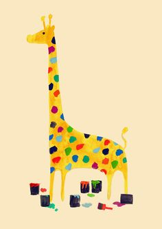 Poster   PAINT BY NUMBER GIRAFFE von Budi Kwan   more posters at http://moreposter.de