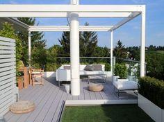 Dachterrasse Terrassenbelag MYDECK WPC, mit Sommerküche, Outdoorsofa,  - Penthouse mit Sommerküche auf der Dachterrasse
