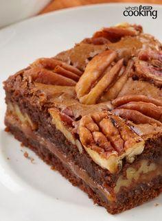 Caramel-Pecan Brownies #recipe