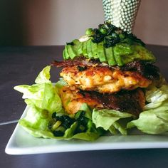 Salmon Burgers cooked in @OMGhee. Ingredients: 1/2 lb @sizzlefishfit coho salmon fillets, 1 organic cage-free egg, 1 tsp garlic lovers @flavorgod, 1 tsp @vitacost almond meal/flour, 1 T @ottosnaturals Cassava Flour, 1 T chopped scallions 1 tsp @primalkitchenfoods Paleo mayo, 1 tsp organic yellow mustard, and @OMGhee for cooking. Recipe courtesy of @confessionsofacleanfoodie via Instagram.