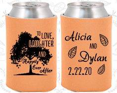 Love Laughter and Happily Ever After, Wedding, Fall Wedding Favors, Rustic Wedding Tree, Family Tree, Cheap Koozies  (268)