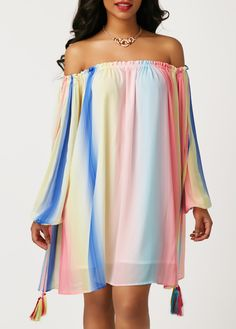 6a487a95057 Tassel Embellished Boat Neck Stripe Print Mini Dress on sale only US 31.58  now