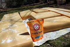 how to clean camper cushions..baking soda, vinegar/water mix, sunshine $4
