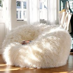 white fur bean bag chairs for toon time