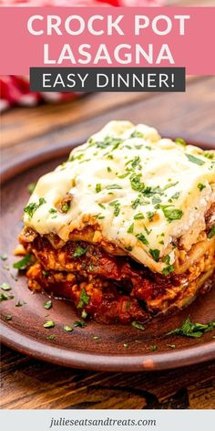 Slow Cooker Lasagna is a quick and easy dinner recipe for busy nights. All your favorite flavors of lasagna including a meat sauce, cheese and lasagna noodles cooked right in your slow cooker. #crockpot #dinner