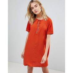 First & I Tassel Tie Shift Dress (€19) ❤ liked on Polyvore featuring dresses, orange, shift dress, red dresses, print shift dress, short sleeve shift dress and tie front dress