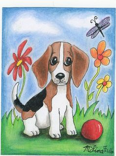 Beagle Colored Pencil Original Artwork 4 x 5 by giftsofcreation, $15.00