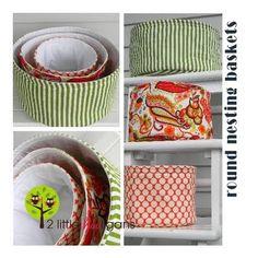 Round Nesting Storage Baskets to Sew - Free Tutorial