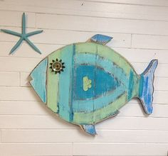 Fish Wall Art Sign Beach House Sea Glass Colours Decor by