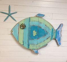 Fish Wall Art Sign Beach House Sea Glass Colours Decor by