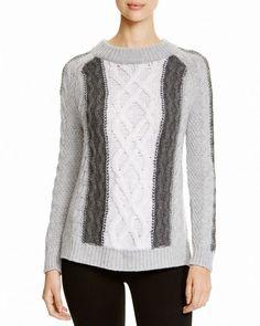 Aqua Cashmere Color Block Cable Knit Sweater
