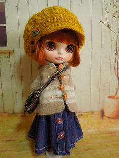 Outfit Objective Blythe Cute Grey & Blue Knitted Hat Doll Not Enclosed