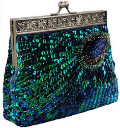 evening bags: PrettyGuide Women's Hand-made Peacock Beaded Sequin Clutch Evening Handbag Turquoise One Size Beaded Purses, Beaded Bags, Beaded Clutch, Moda Hippie, Kelly Bag, Unique Bags, Vintage Purses, Vintage Clutch, Vintage Hats