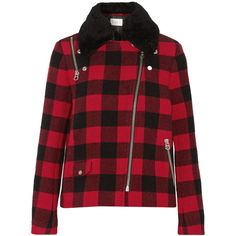 Sandro Minds shearling-trimmed buffalo checked wool-blend coat ($378) ❤ liked on Polyvore featuring outerwear, coats, jackets, red, asymmetrical zip coat, red coat, wool-blend coat, sandro and buffalo plaid coat