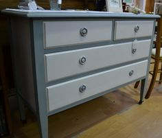 Vintage chest of drawers on wheels - reloved using 'troubled water' and 'chalk grey' Autentico chalk paint and finished in Autentico clear wax. The two tone design creates a beautiful but simple piece of bedroom furniture.
