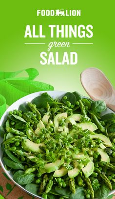 Get your mix of greens with this all green salad featuring asparagus, peas, avocado, parsley and mint. Top it off with a citrusy lemon dressing! New Recipes, Salad Recipes, Vegan Recipes, Cooking Recipes, Vegetable Salad, Vegetable Recipes, Keto Chicken Salad, Healthy Eating Recipes, Easy Cooking