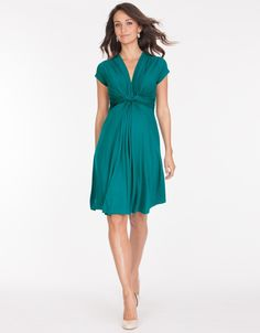 Peacock Green Knot Front Maternity Dress