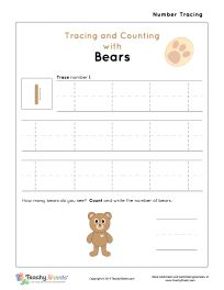 Tracing and Counting with Bears. Number 1 worksheet. For more free worksheets or worksheet generators visit us at http://TeachySheets.com