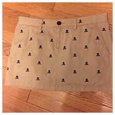RL Rugby Skull & Crossbones Mini Skirt Khaki mini skirt with black skull & crossbones. Super cute! Ralph Lauren Skirts Mini