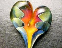 Heart pendant - Glass lampwork jewelry charm