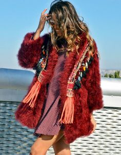 Fur Coat with Embellishment in Red
