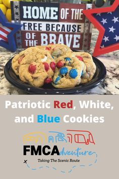 Celebrate 4th of July with these festive Red, White, and Blue M&M Cookies! Check this easy RV-friendly recipe out by clicking the link below to our latest FMCAdventure blog! Blue Cookies, M M Cookies, 4th Of July, Rv, Festive, Breakfast, Link, Check, Easy