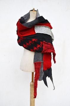 Patchwork Hand knited shawl red dark gray felted wool by ZOJKAshop