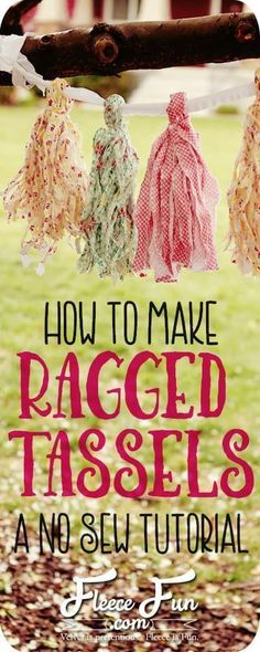 I love this ragged tassels tutorial. These are so shabby chic and easy to make! There's a video tutorial to show you how to make them step by step. This is great party decor DIY. These tassels won't tear like the tissue ones do. Shabby Chic Crafts, Shabby Chic Interiors, Shabby Chic Living Room, Shabby Chic Bedrooms, Shabby Chic Kitchen, Shabby Chic Homes, Shabby Chic Style, Shabby Chic Furniture, Shabby Chic Decor