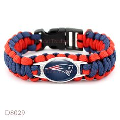 (10 Pieces/Lot) New England Football Team Patriots Paracord Survival Friendship Outdoor Camping Sports Bracelet Navy Blue Red