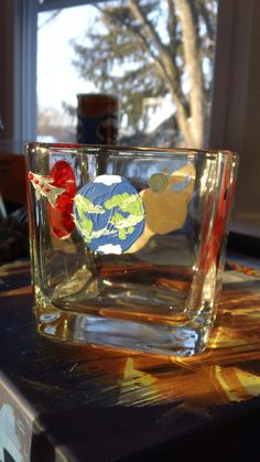 Items similar to Unique hand painted glass candle holder - planets & comet on Etsy Cute Paintings, Glass Candle Holders, Shot Glass, Hand Painted, Candles, Ceramics, Glasses, Unique Jewelry, Handmade Gifts