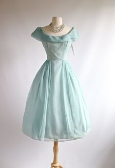 1950s Aquamarine Party Dress Vintage 1950s Lorie by xtabayvintage. It's so Cinderella, I can hardly handle the WANT