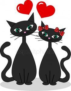 Art Drawings For Kids, Easy Drawings, Art For Kids, Motifs Animal, Cat Silhouette, Pet Rocks, Cat Cards, Chalk Art, Indian Art