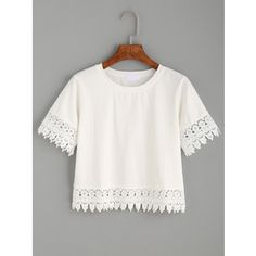 White Crochet Trim Crop T-shirt
