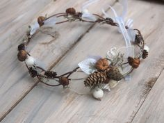 Woodland inspired hair wreath made of wired bark-covered vine, adorned with gentle frosted rosehips, pinecones, miniature pumpkins, moss,