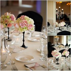 duck-woods-country-club-wedding. Blush, ivory, black centerpieces. So pretty!
