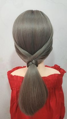 Low horsetail hairstyle idea - Easy hairstyles for long hair - Easy Hairstyles For Long Hair, Braided Hairstyles, Medium Hair Styles, Curly Hair Styles, Long Thin Hair, Hair Upstyles, Grunge Hair, Hair Videos, Hairstyles Videos