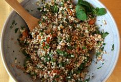 This salad has been in my recipe cue for months, and I've been waiting for the right person to share it with. I was initially drawn to this recipe from Happyolks because of its gorgeous comb… Mojito, Gourmet Recipes, Healthy Recipes, Couscous Salad, Middle Eastern Recipes, Vegan Dishes, Salad Recipes, Good Food, Healthy Eating