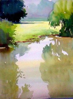 Watercolor painting by Milind Mulick Watercolor Trees, Watercolor Landscape, Watercolor And Ink, Watercolour Painting, Landscape Art, Painting & Drawing, Landscape Paintings, Watercolors, Pond Painting