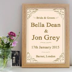 A unique personalised wedding day print featuring the names of the bride and groom, wedding date and location. Available in a choice of twelve colours. Personalised Prints, Wedding Prints, Large Prints, Poster Prints, Posters, Personalized Wedding, Bride Groom, Anniversary Gifts, Unique Gifts
