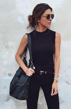 Black muscle tee, black pants. Crisp, comfortable, confident, classic.