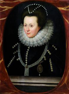 William Larkin (c.1580 – 1619), Portrait en buste d'Elizabeth Drury, Lady Burghley, devenue Comtesse d'Exeter (1577/8-1654)
