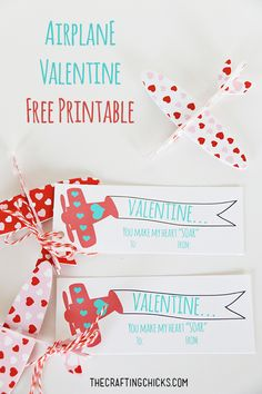 "You Make My Heart ""Soar"" Airplane Valentine *Free Printable - a fun non-candy valentine printable!"