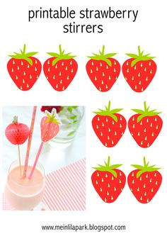 FREE printable strawberry DIY stirrers  ( cute as cupcake toppers too ^^)