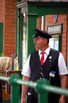 Station volunteer at the Bluebell Raiwlay