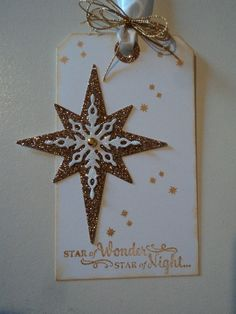 Star of Light, Starlight Thinlits, Gold Glimmer Paper, White Glimmer Paper, Gold ink, Gold brad, Corner Tag punch (by candee porter on SCS 11/28/2016)