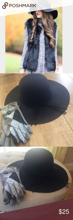 Black Floppy Hat 1 Day Sale! Stylish floppy hat adds pizzazz to your outfits this season! Polyester Looks like wool! Woven faux suede band around hat that ties with some fringe! OS ties to for a tighter fit inside hat. Model for styling and not wearing actual hat! Accessories Hats
