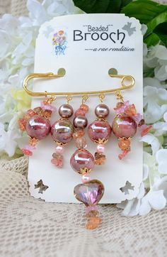 A Beaded Brooch Pretty Pink and Dusty Rose Beads by pdqt12 on Etsy, $13.00